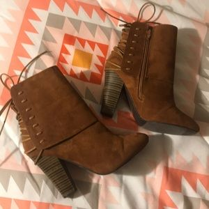 Qupid Brown Heeled Boots